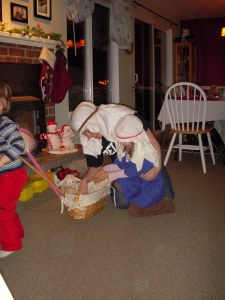 Joseph (Auntie Stephie), Mary (Rylee), and baby Jesus (a dolly)