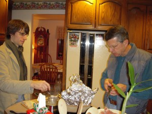 Dad and I slaved all day preparing the meal (yeah right...thanks Mom!)