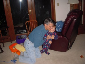 Kyler loved wrestling with Grampy too!