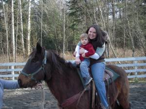 Mama and Kyler riding a horse-he was so brave!
