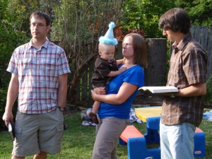 Isaac's baby dedication at the party