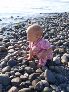 Audrey checking out rocks