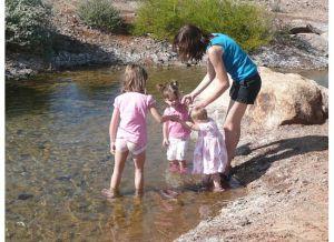 girls wading